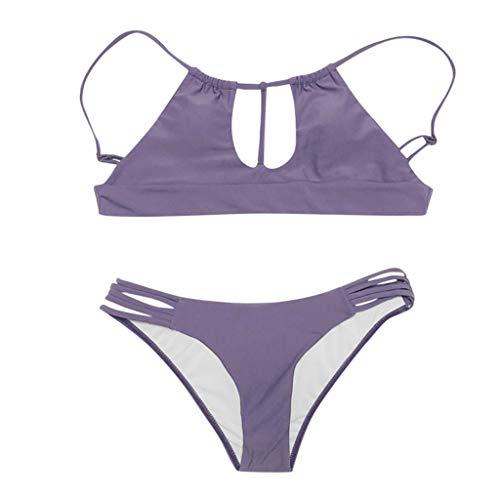XuxMim Frauen Solide Beachwear Hohl 2 Stücke Verband -