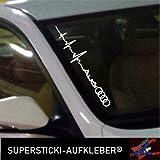 SUPERSTICKIWinschutzscheibe Aufkleber ca.55cm Herzschlag kompatibel für Audi Ringe Autoaufkleber Tuning Decal A635 aus Hochleistungsfolie Aufkleber Autoaufkleber Tuningaufkleber
