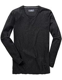 Ragman XXL V-Ausschnitt Pullover in anthrazit melange 271015157d