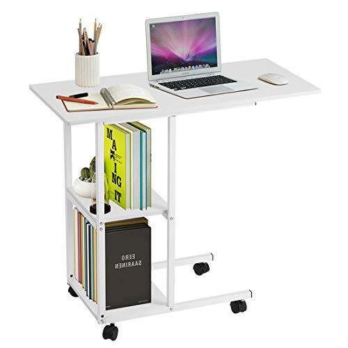 Greensen Beistelltisch Höhenverstellbar Laptoptisch mit Rollen Computertisch Weiß Schreibtisch Multifunktionaler Pflegetisch Drehbar Sofatisch mit 2 Schichten Frühstückstisch für Home Office