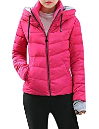 396dd39b2d53 FNKDOR Womens Short Slim Hooded Jackets Coats Thick Outerwear Quilted  Padded Puffer Bubble Parka Jacket