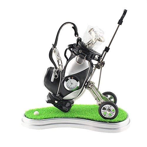 Miniatur-Stifthalter von Crestgolf - Motiv: Golftasche  mit Rasen und Uhr plus 3 Stiften in Golfschlägerform, schwarz / silber