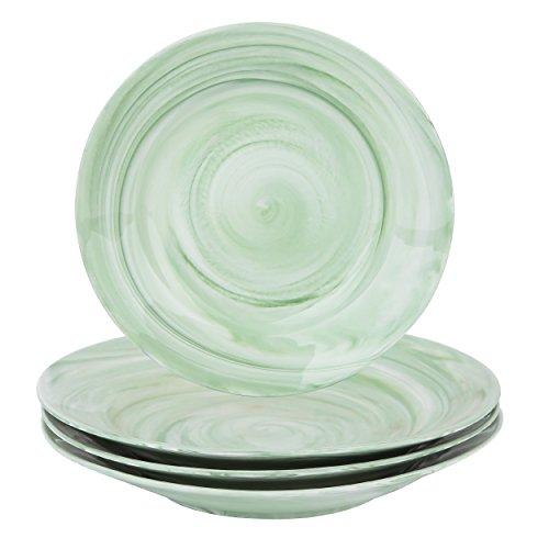 "Vancasso 8"" Green Porcelain Soup/Pasta/Dessert Plates, Set of 4"