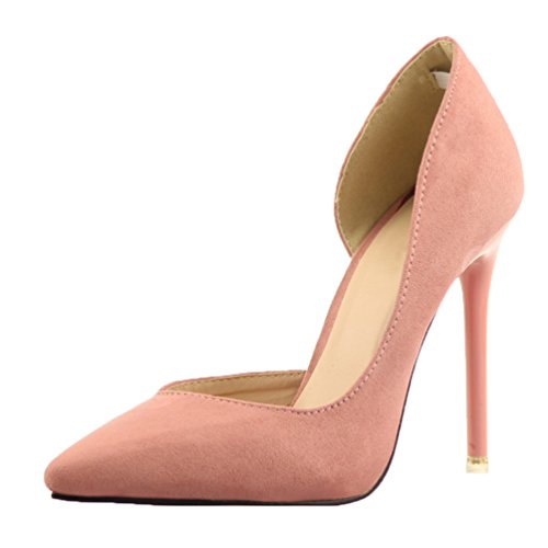 HooH Femmes Femme De Bureau D'Orsay Stiletto Escarpins Rose