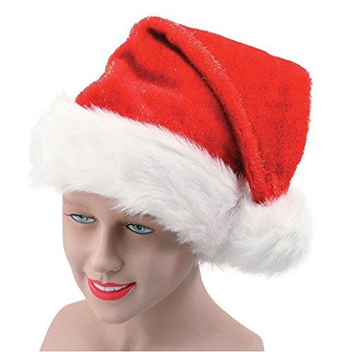 Santa Kostüm Womens Miss - Shatchi 3458-SANTA-HAT-WITH-GLITTER-1PK Weihnachtsmütze mit Glitzer Lady Miss Santa Kostüm Zubehör Party Fun Strumpffüller, rot/weiß
