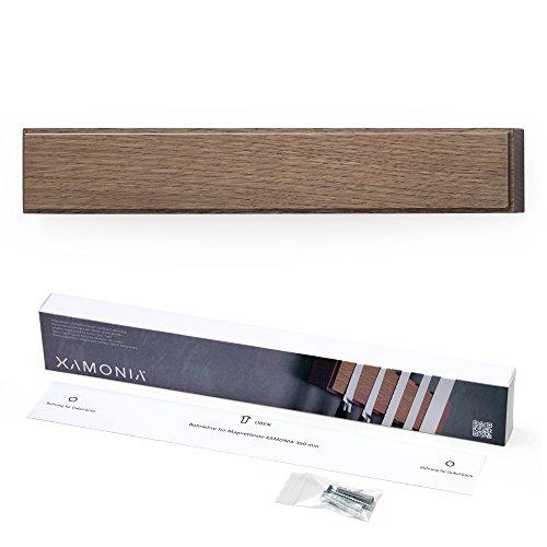 Xamonia® ML-MH Magnetleiste für Messer, Messerhalter, Messerleiste, Holz Eiche, an die Wand kleben oder mit Schrauben, doppelte, starke Neodym-Magnete, 36 cm Eiche dunkel geölt