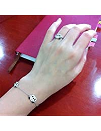 Tradico® Chic Rhinestone Paved Triple Panda Bear Bracelet Anklet Elegant Crystal Animal