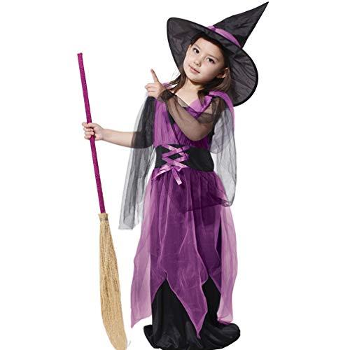 rkostüm Halloween Mädchen Prinzessin Kleid + Hexenhut, Hexenkostüm ideal für Karneval, Halloween und Themen partys usw.(Beinhaltet nicht: Besen und Schuhe,Strümpfe ),L(height:110~120CM) ()