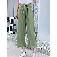 YFLTZ Pantalones Chinos Sueltos de Mujer - Color sólido, Verde Claro, M