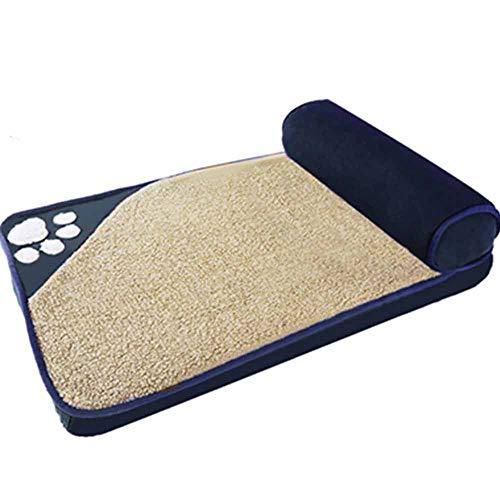 Hundebett und anti-mikrobielle wasserdichte rutschfeste Abdeckung Plüschkissen Memory Foam Waschbar Deluxe Chaise Sofa Pet Bed für Hunde & Katzen - erhältlich in mehreren Farben und Stilen,navy,XL (Chaise-abdeckung)