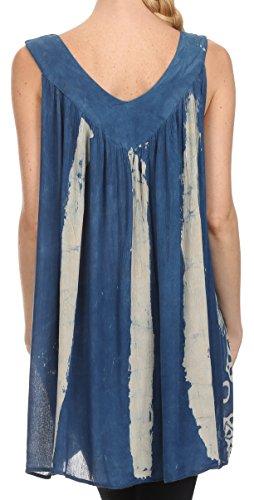 Sakkas Wanda May Gestickte Batik Rundhalsausschnitt Bequeme Passform Ärmellose Bluse Blau