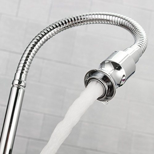 Flexible Gooseneck Kitchen Faucet, Clover Star Stainless Steel Kitchen Sink Tap Pull Down Modern Single Lever Cold Water Kitchen Tap Arbitrary Rotating with Swivel Spout