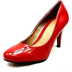 Red Patent faux leather low heel court shoes