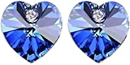 Swarovski Elements 18K White Gold Plated Earrings Encrusted with Navy Blue Swarovski Crystals, SWR-403