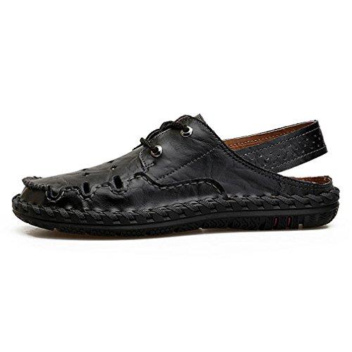 Sandali maschili in pelle fatti a mano artigianali sandali maschili in vero cuoio classico casual da spiaggia traspirante black 44