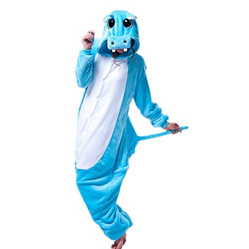 Kostüme Halloween Hippo (Missley Einhorn Pyjamas Kostüm Overall Tier Nachtwäsche Erwachsene Unisex Cosplay (XL,)