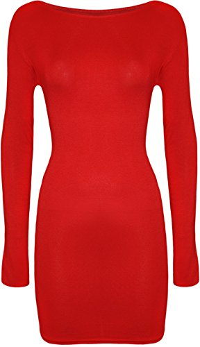 Flirty Wardrobe robe Midi Bodycon stretch à manches longues pour femme col rond uni 8-22 red