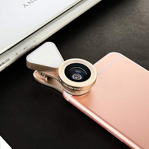 LED selfie lumière d'appoint 15X Macro Set large objectif 3 en 1 lentille de téléphone externe Objectif grand-angle réglable lumière de remplissage de téléphone portable,D'or