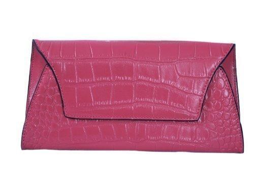 Fuchsia Dünne Clutch Tasche in Croc Verschönertes Leder von Smith & Canova (Handtasche Clutch Croc)