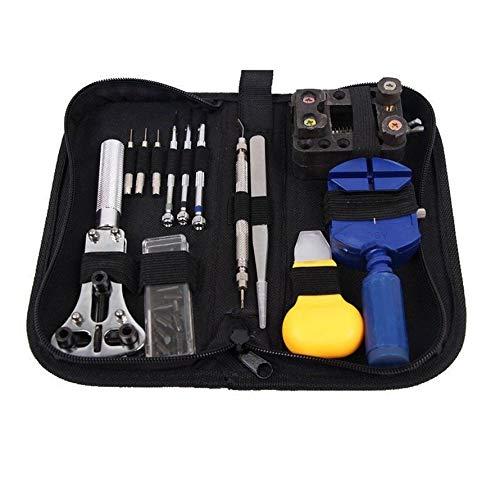 camillia-de 13 STÜCKE Uhr Repair Kit Professionelle Uhr Batterie Ersatzwerkzeug Uhrenarmband Tool Set mit Tragetasche für Reparatur (schwarz)