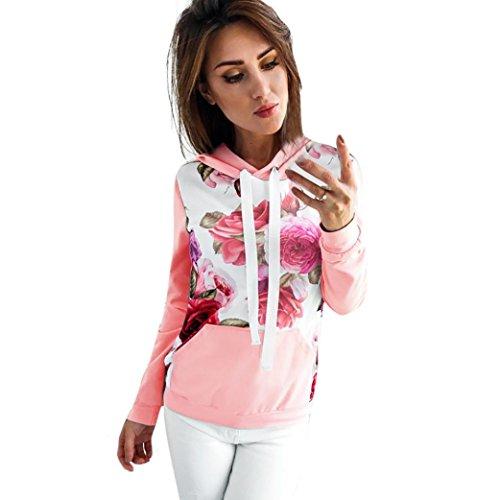 ITISME Damen StrickjackeWomens Long Sleeve Floral Print Hoodie Sweatshirt Hooded Pullover Tops...