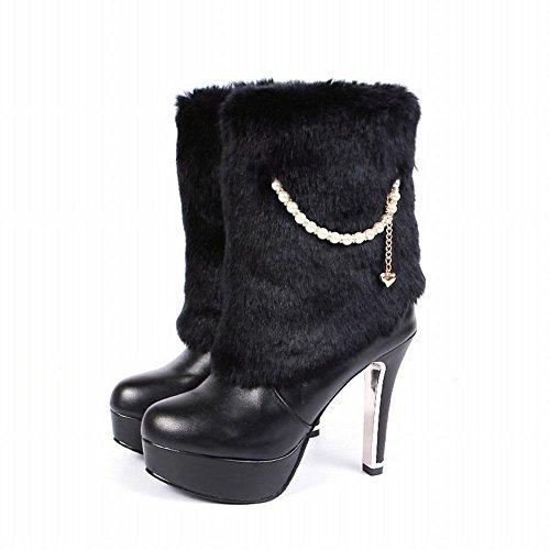 MissSaSa Donna Scarpe col Tacco Alto Affascinante e Elegante Stivali Nero