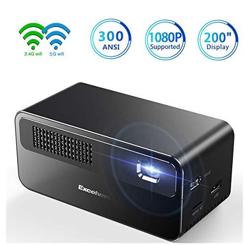 Mini Beamer DLP Excelvan Full HD 300ANSI Lumens Unterstützung 1920*1080 Pico Projektor Tragbares System Mini Projektor Kurzdistanz Beamer 3000:1 USB/VGA/SD/HDMI Hi-Fi Dual WiFi für Home Travel