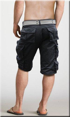 Fun Coolo Pantaloncini corti Bermuda Cargo short con tasconi laterali, con cintura nero XS 44 nero