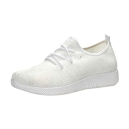Alaso - Scarpe da tennis in rete da indossare, da donna, estive, autunnali, morbide, comode, in tessuto casual, sportive, basse bianco 39