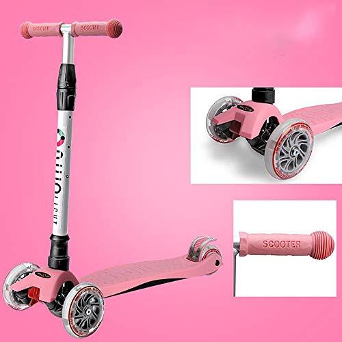 Aocean Kinderscooter 3 räder Kinder Scooter Kinderroller Höhenverstellbarer und Abnehmbarer Lenker Tret-Roller mit 4-PU Blinkenden LED Rollen Scooter Kinder ab 3 Jahren, Pink