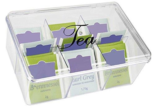 Klappbarer Holz-box (Teebox Aufbewahrung für Teebeutel Transparent - 22 x 15 x 9 cm - 6 Fächer in Teekiste Teekasten mit Deckel - My-goodbuy24)