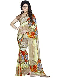 Anand Sarees Faux Georgette Printed Yellow Color With Blouse Piece (1429)