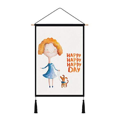 srtyu Cartoon Hintergrund Tuch Meter Box Cover Kinderzimmer Baumwolle Leinen Kunst Tapisserie dekorative Malerei Ins Wind hängenden Stoff Kragen Hund