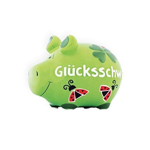 Unbekannt Sparschwein Glücksschwein Käfer Kleeblatt Spardose Sparbüchse Keramik Geldgeschenk Grün