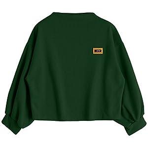 ZAFUL Damen Lantern Sleeve Badge Patched Rundhalsausschnitt Langarm Lose Bluse Strickpulli Hemd Shirt Sweatshirt Tops
