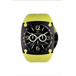 Avio Milano Men's Quartz Watch with Black Dial Chronograph Display and Green Rubber Strap MK BK 2003