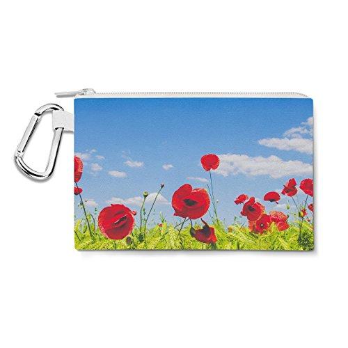 Red Poppies Field Canvas Zip Pouch - Medium Canvas Pouch 8x6 inch Federmäppchen -