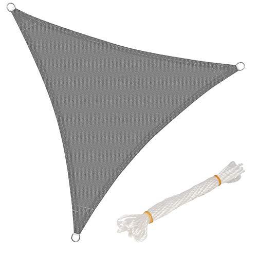 WOLTU GZS1188gr15 Voile d'ombrage Triangulaire perméable à l'air Protection Contre Le Soleil HDPE avec Protection UV pour Jardin terrasse Camping,5x5x5m Gris