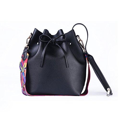 SMARTRICH Eimer Tasche Frauen Pu-Leder mit farbigen Gurt, meine Damen Eimer Tasche Crossbody Taschen, Schwarz, 26cm*28cm -