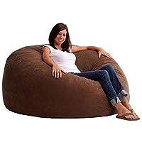 Comfy Large Seude Coffee Brown Bean Bag, Brown, H42 x W42 x D28 cm