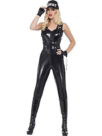Für Damen: Sexy Fever SWAT Police Officer Cop einheitliche Jumpsuit Cops & Robbers Heroes Villains & WPC Polizistin Strafverfolgung Notdiensten Fasching Kostüm Gr. (Villain-kostüme Für Frauen)