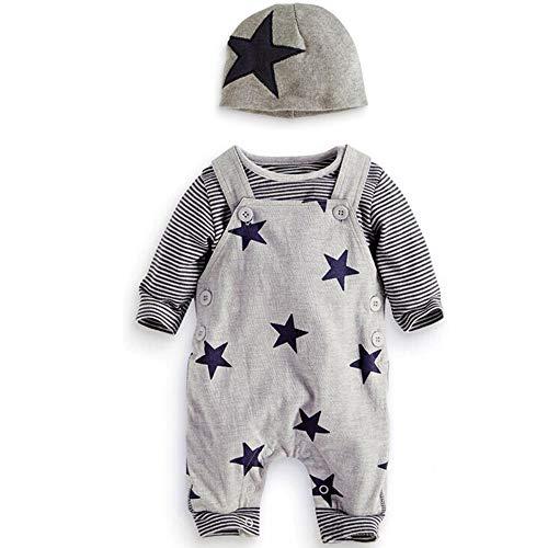 Prämie Reine Baumwolle Set Kleidung, Neugeborenes Baby Strampler Star Kleidung Sets, Hosen Tops Hut Cute Jumpsuit Outfit Body, Grau, 0-3 M