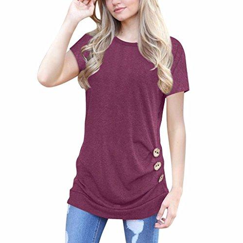 Hansee Damen Blusen Pullover Streetwear Kurzarm Lose Knopfleiste Bluse Einfarbig Rundhals Tunika T-Shirt (L, Weinrot) (Tote Baumwolle Oversized)