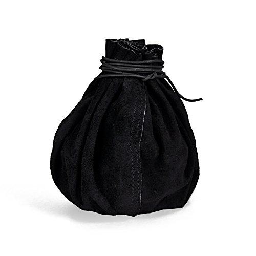 Lederbeutel schwarz Wildleder Beutel rund f LARP Mittelalter Kostüm