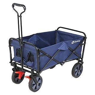 Sekey Chariot de jardin pliable avec freins | Charrette pliable | Charrette à main pliant | Chariot remorque de jardin d'extérieur | Chariot de transport, bleu foncé