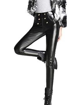 Aivtalk Pantalones Largos de Piel para Mujer con Forro Dentro Legging Invierno Negro