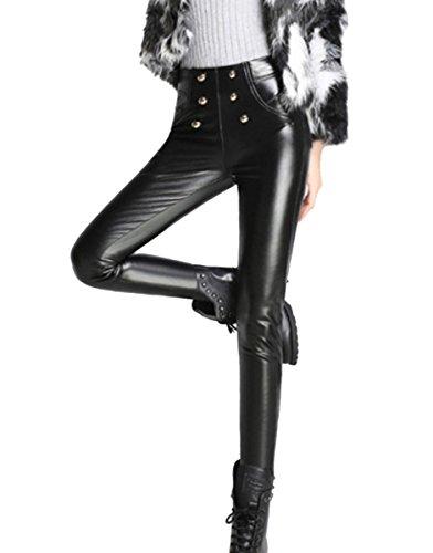 36f344e7b Aivtalk Pantalones Largos de Piel para Mujer Legging Elástico Invierno  Terciopelo Negro Talla ES M