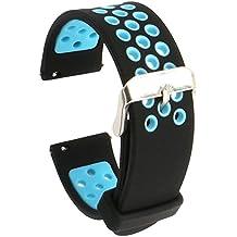 Runtenic 20mm Gear S2 / Pebble Time Banda Soft Silicone Replacement Sport Band Correa para Samsung Galaxy Gear s2 Classic SM-R7320 / LG G / Motorola Moto 360 2 42mm / Garmin Vivomove Classic / Sport / Huawei Watch 2 Smart Watch (Black Blue)
