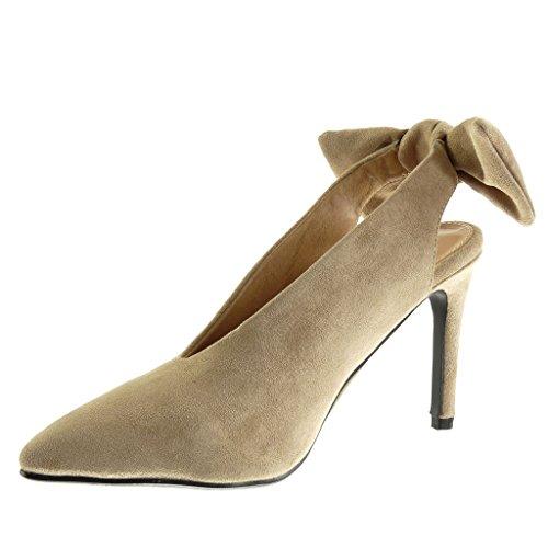 Angkorly Scarpe da Moda Scarpe Decollete Decollete Stiletto Donna Papillon Tacco Stiletto Tacco Alto 10 cm Khaki