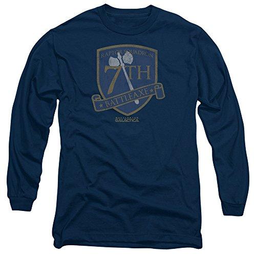 Battlestar Galactica Abzeichen (Battlestar Galactica Männer Battleaxe Abzeichen Langarm T-Shirt, X-Large, Navy)